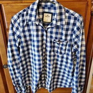 L Blue & White Hollister Button Up